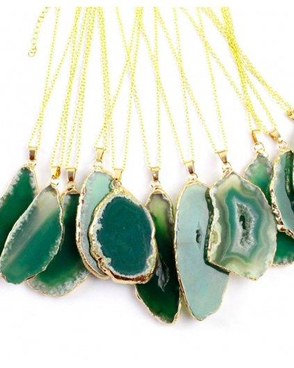 Náhrdelník s kamenem zelený achát