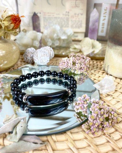 Léčivý minerální náramek z kamene obsidián