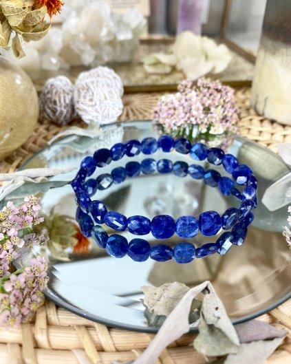 Luxusní náramek z minerálu modrý sodalit fazetovaný AAA