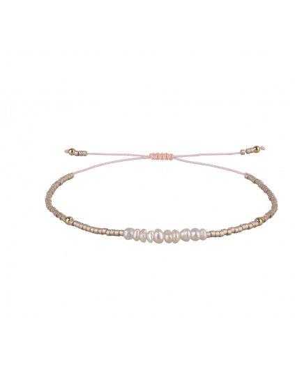 Jemný provázkový perlový náramek ze semínkových korálků
