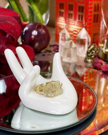 Dámský prstýnek s krystalem citrínu barva gold