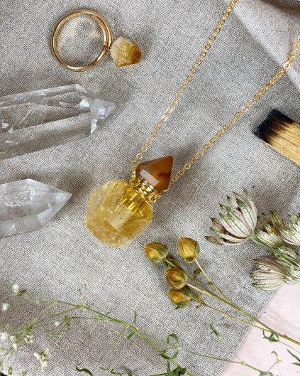 Náhrdelník s lahvičkou z citrínu na olejíček