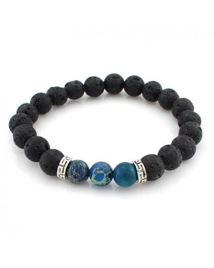 Náramek z minerálů láva a lapis lazuli