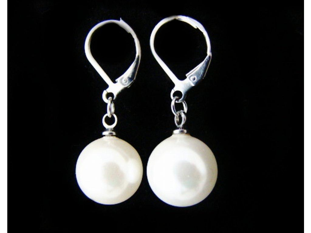 náušnice - chirurgická ocel - koule perleťové - 12 mm - 140123