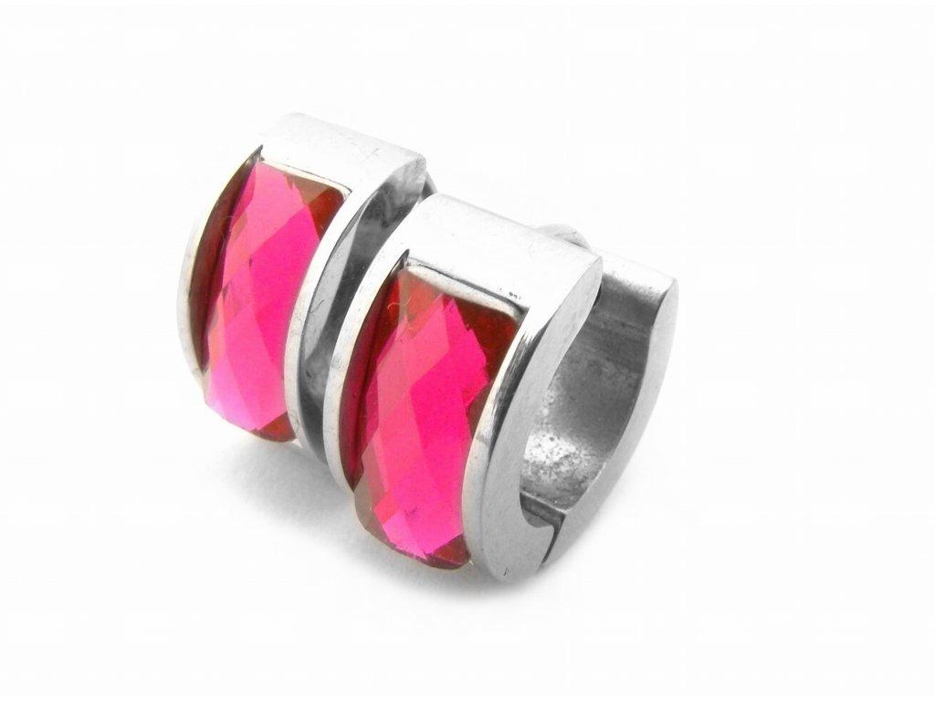 náušnice - chirurgická ocel - růžové - 140101