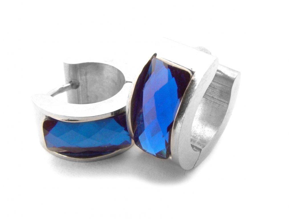náušnice - chirurgická ocel - modré - 140102