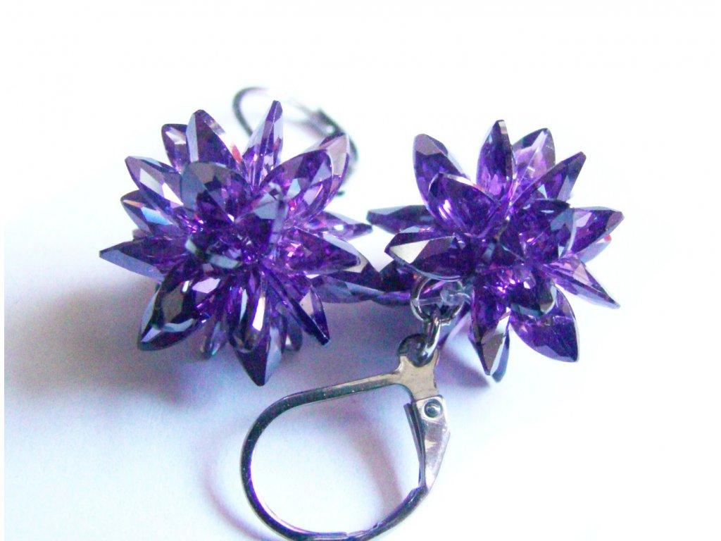 náušnice - chirurgická ocel s krystalky - fialové - 150102