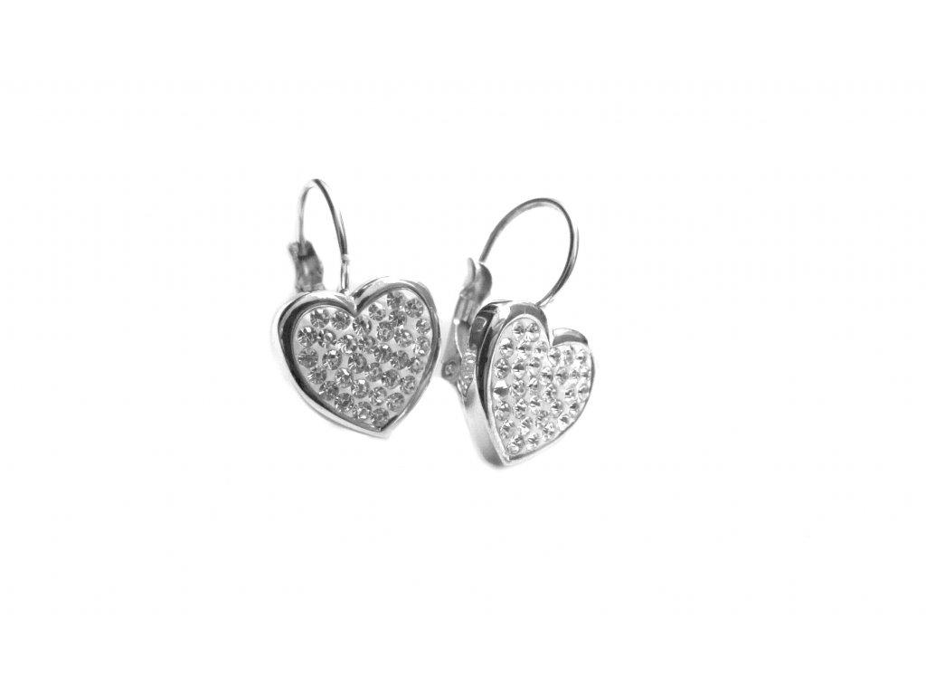 náušnice - chirurgická ocel - srdce - 140210