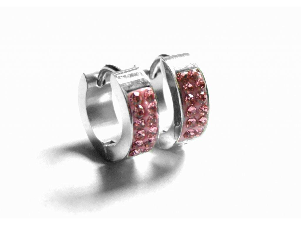 náušnice - chirurgická ocel - kroužky - růžové - 141005