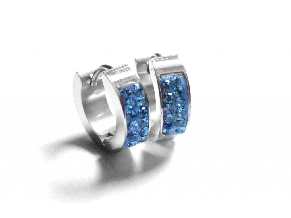 náušnice - chirurgická ocel - kroužky - modré - 151216