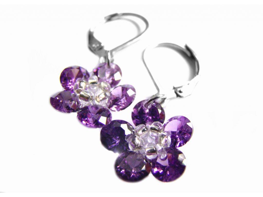 náušnice - chirurgická ocel - kytičky fialové - 150915