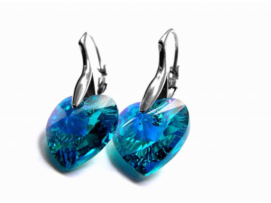 náušnice - chirurgická ocel - srdce - barva amerald - 150124