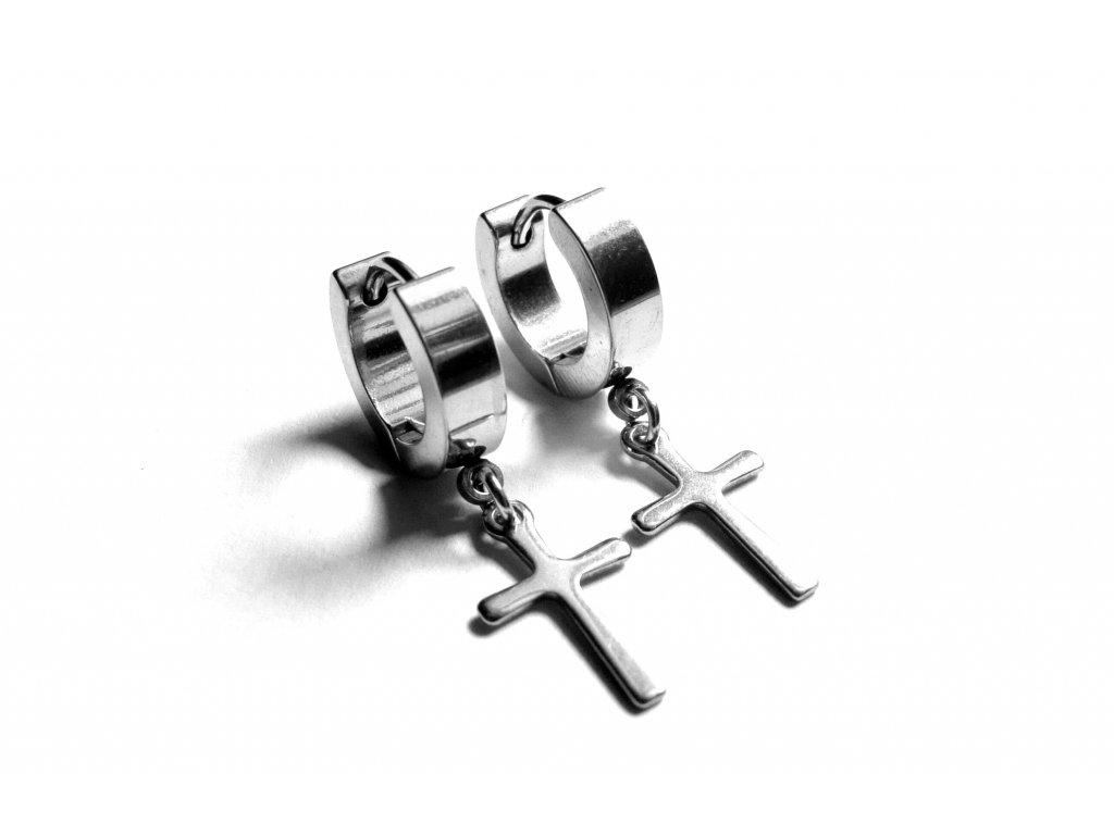 náušnice - chirurgická ocel - křížek - 151208