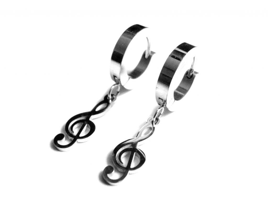 náušnice - chirurgická ocel - houslový klíč - 251101