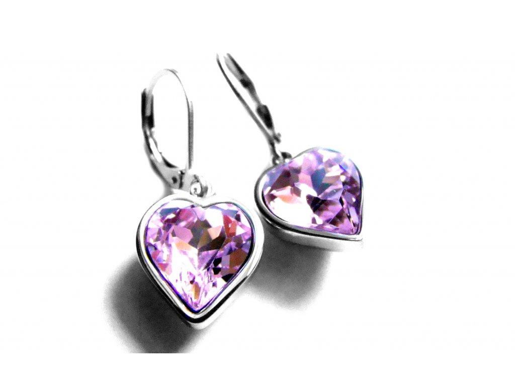 náušnice - chirurgická ocel - srdce - růžové - 151113
