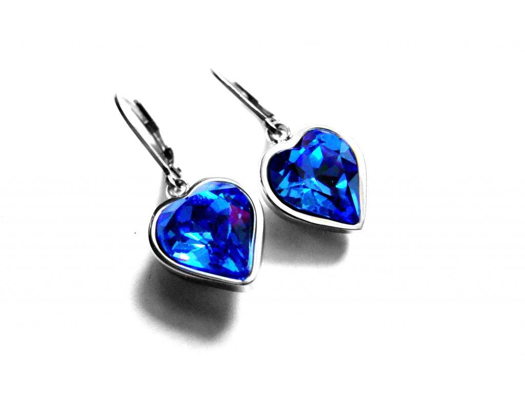 náušnice - chirurgická ocel - srdce - modré - 150908