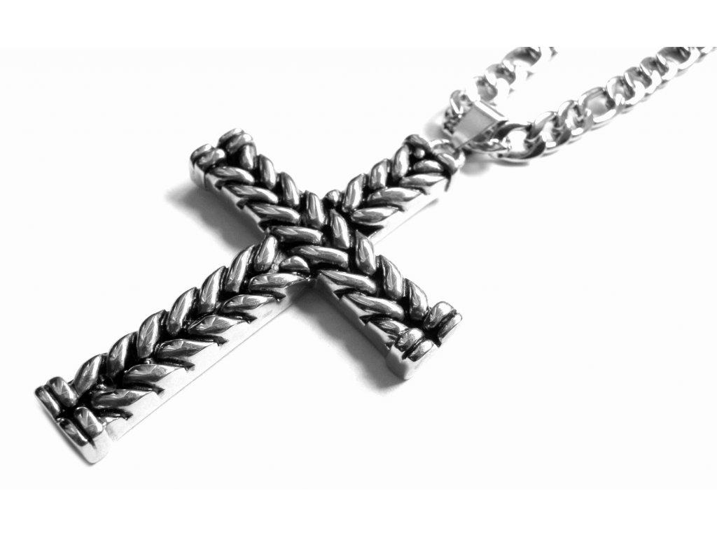 řetízek s přívěskem - kříž - chirurgická ocel - 160311
