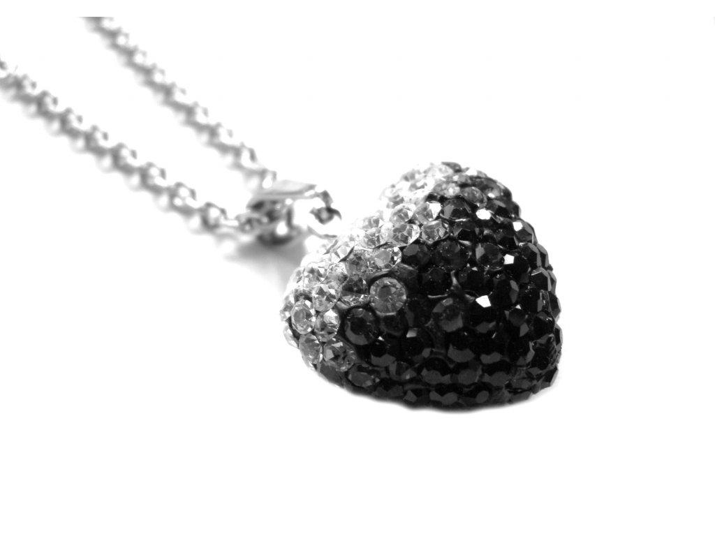 náhrdelník - chirurgická ocel - srdce s křišťálky - 500417