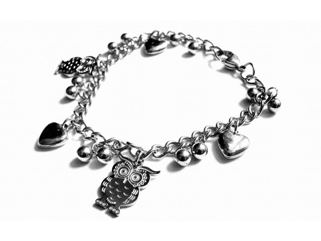 náramek - chirurgická ocel s přívěšky - 090116