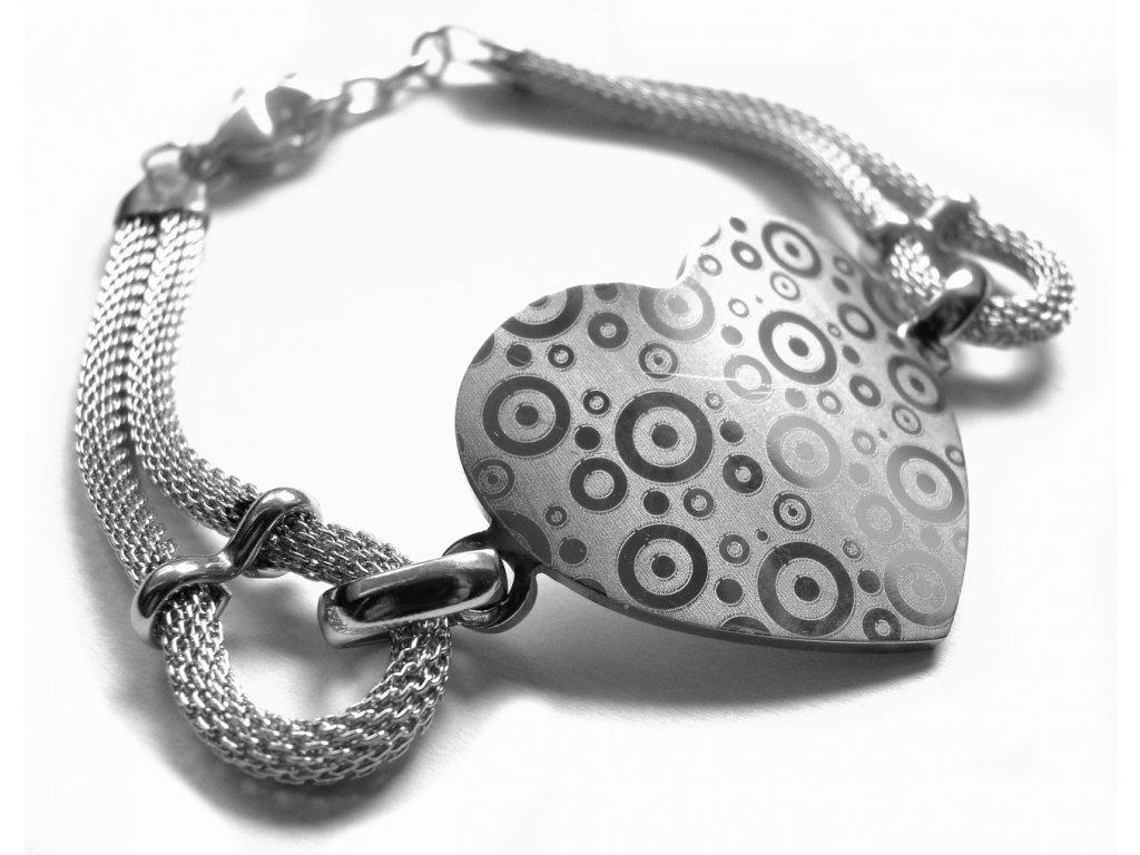 náramek - chirurgická ocel - dámský - srdce - 090117