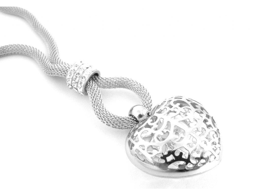 řetízek, náhrdelník - chirurgická ocel - dámský - srdce - 080377