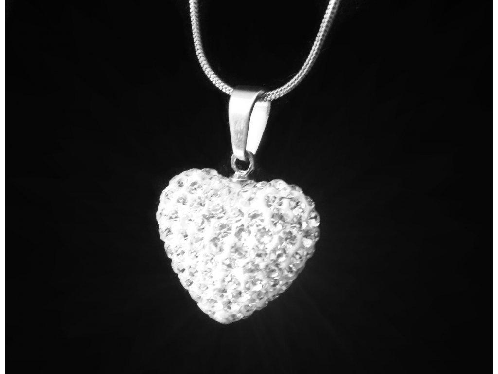 náhrdelník - chirurgická ocel - srdce s křišťálky - 080355