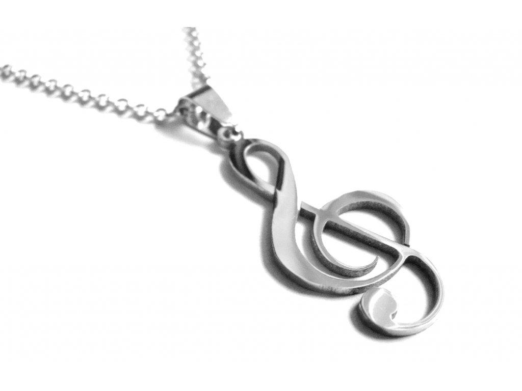 řetízek a přívěsek - chirurgická ocel - houslový klíč - 090313