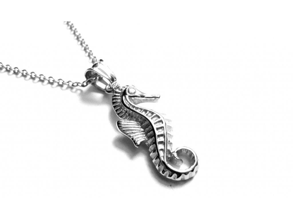 řetízek s přívěskem - chirurgická ocel - mořský koník - 151001