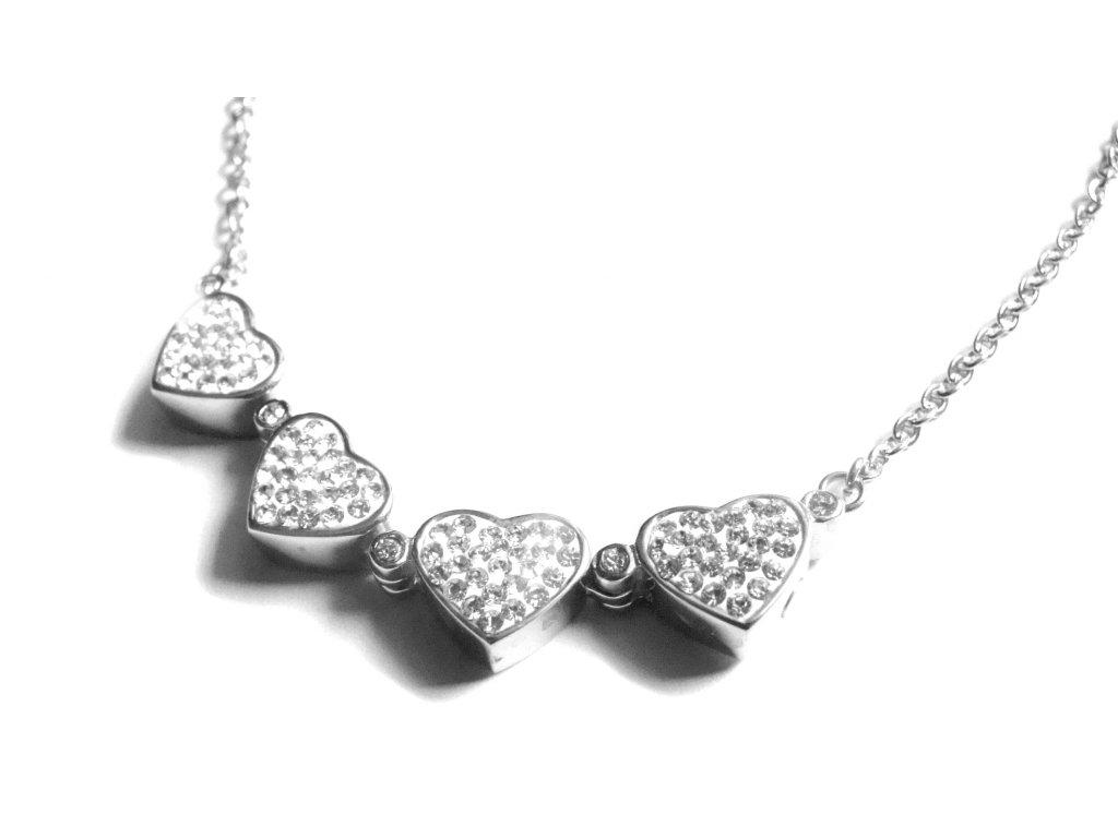 náhrdelník - řetízek - chirurgická ocel - srdce - čtyřlístek - 090158