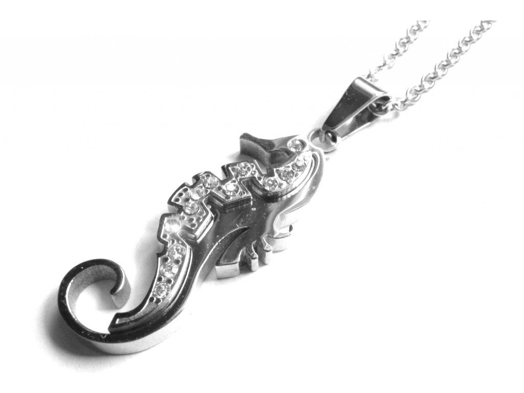 řetízek, přívěsek - náhrdelník - chirurgická ocel - mořský koník - dámský - 160219