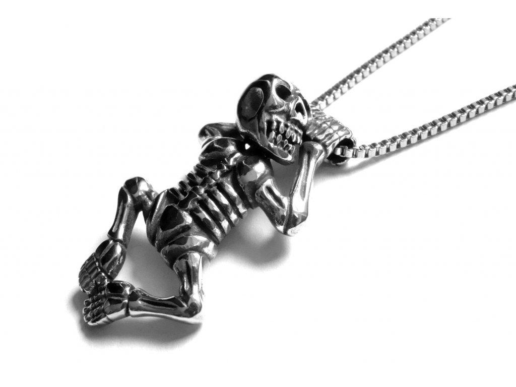 řetízek s přívěskem - kostlivec - chirurgická ocel - 121160