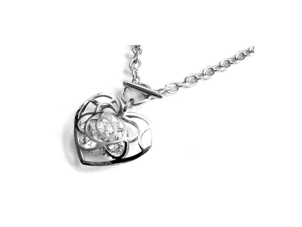 náhrdelník - chirurgická ocel - srdce s křišťálky - 090232