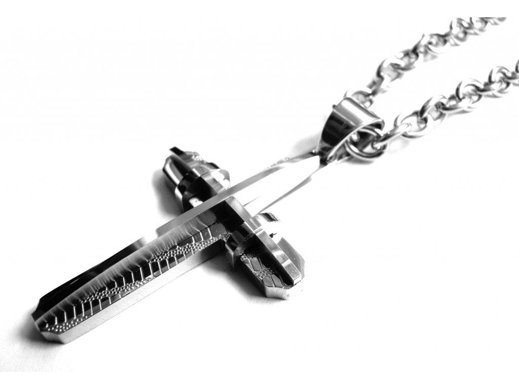 řetízek s přívěskem - kříž - chirurgická ocel - 500414