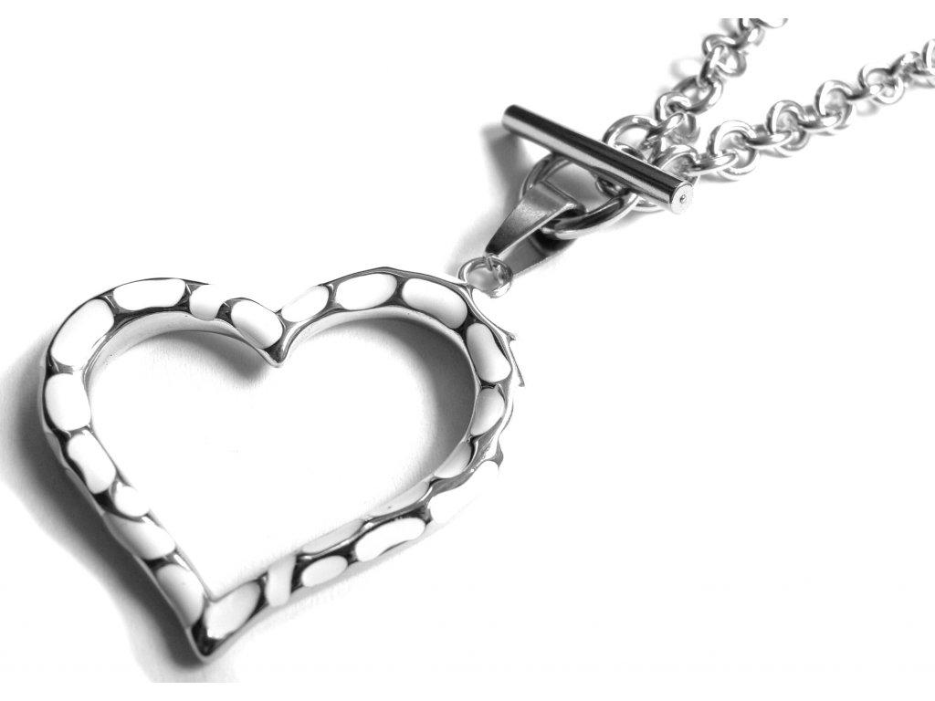 náhrdelník - chirurgická ocel - srdce - dámský - 500413