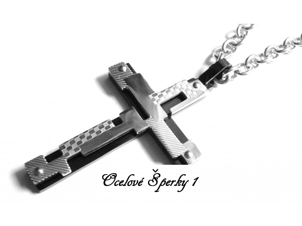 řetízek s přívěskem - kříž - chirurgická ocel - 090163