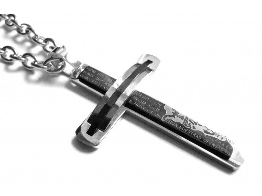 řetízek s přívěskem - kříž - chirurgická ocel - 121148