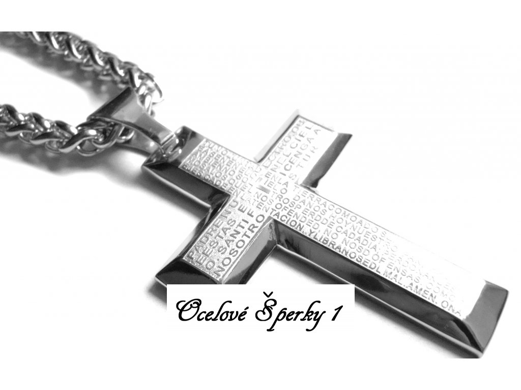 řetízek s přívěskem - kříž - chirurgická ocel - 090253