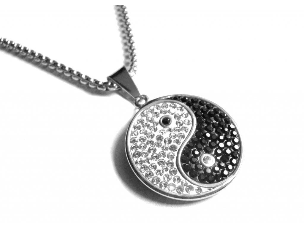 řetízek, náhrdelník - chirurgická ocel - jing jang - 090254
