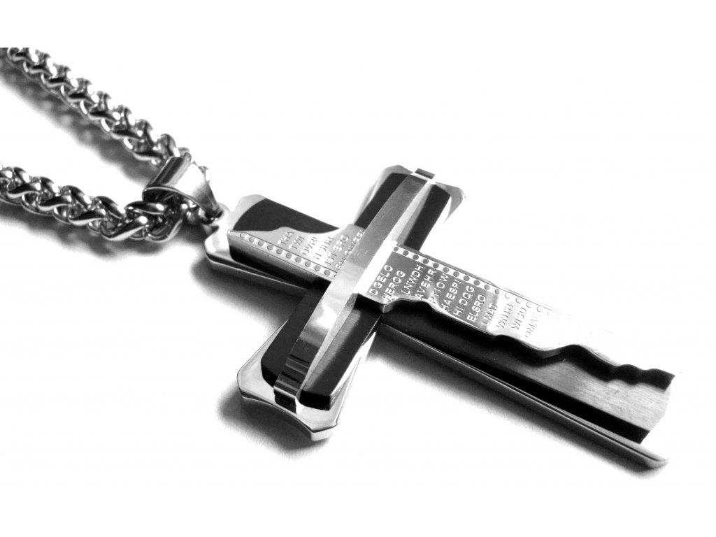 řetízek s přívěskem - velký kříž - chirurgická ocel - 090200