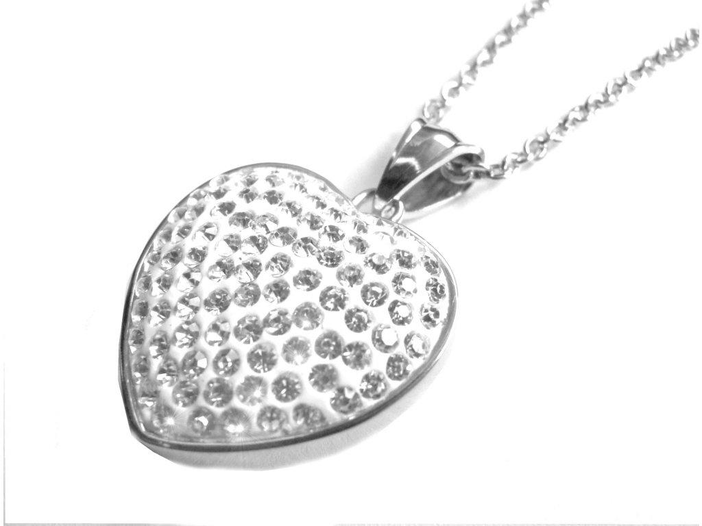 náhrdelník - chirurgická ocel - srdce s krystalky - dámský - 500404