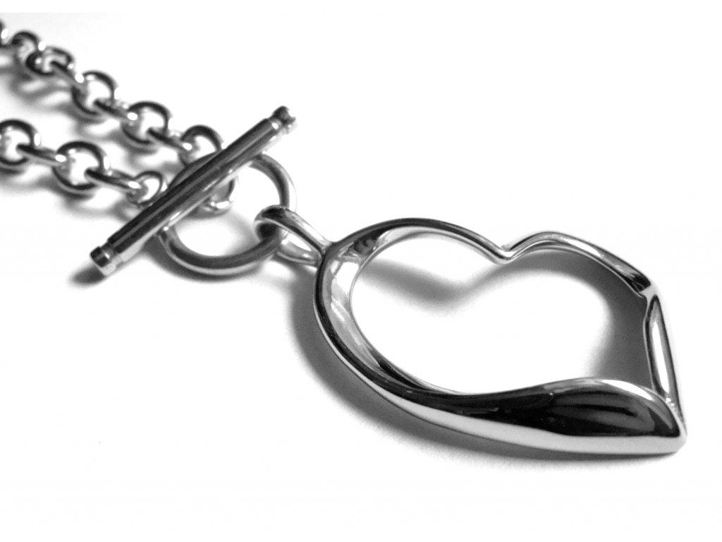 náhrdelník - chirurgická ocel - srdce - 500454