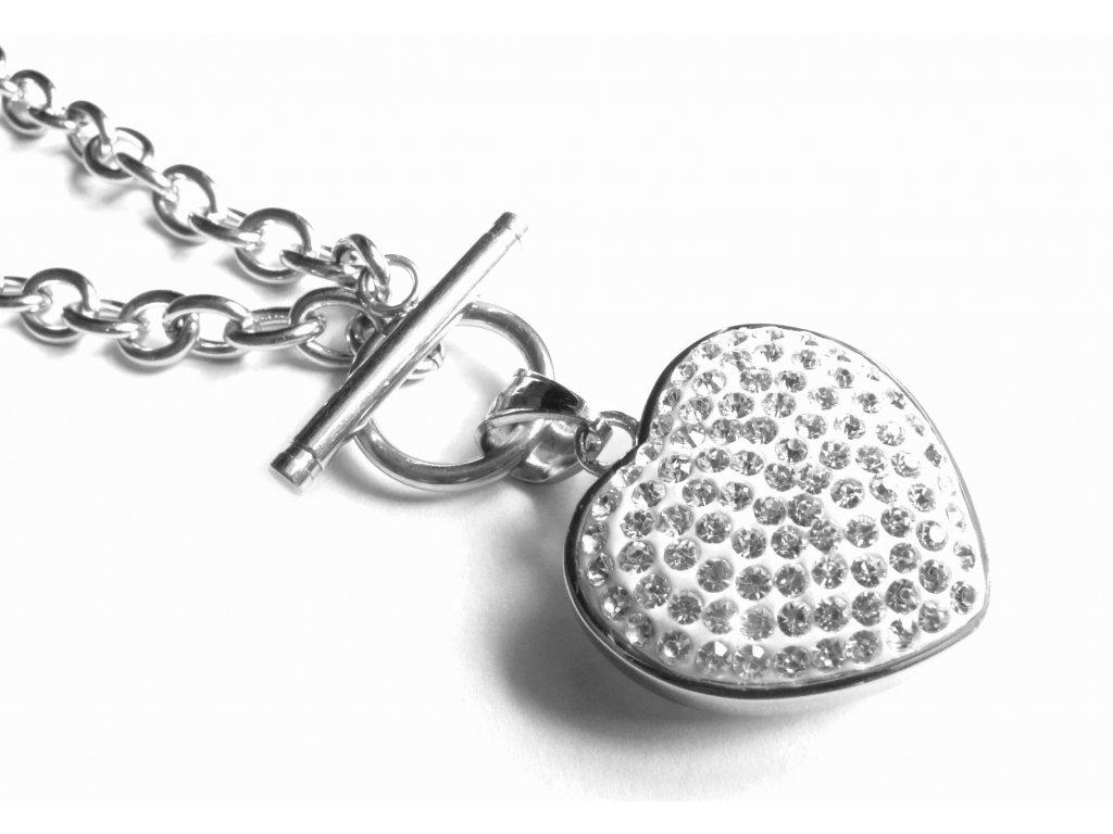 náhrdelník - chirurgická ocel - srdce s krystalky - dámský - 160215