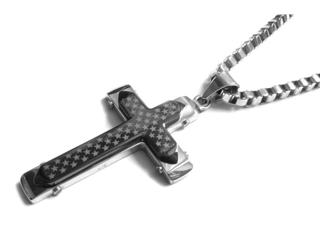 řetízek s přívěskem - kříž - chirurgická ocel - 090185