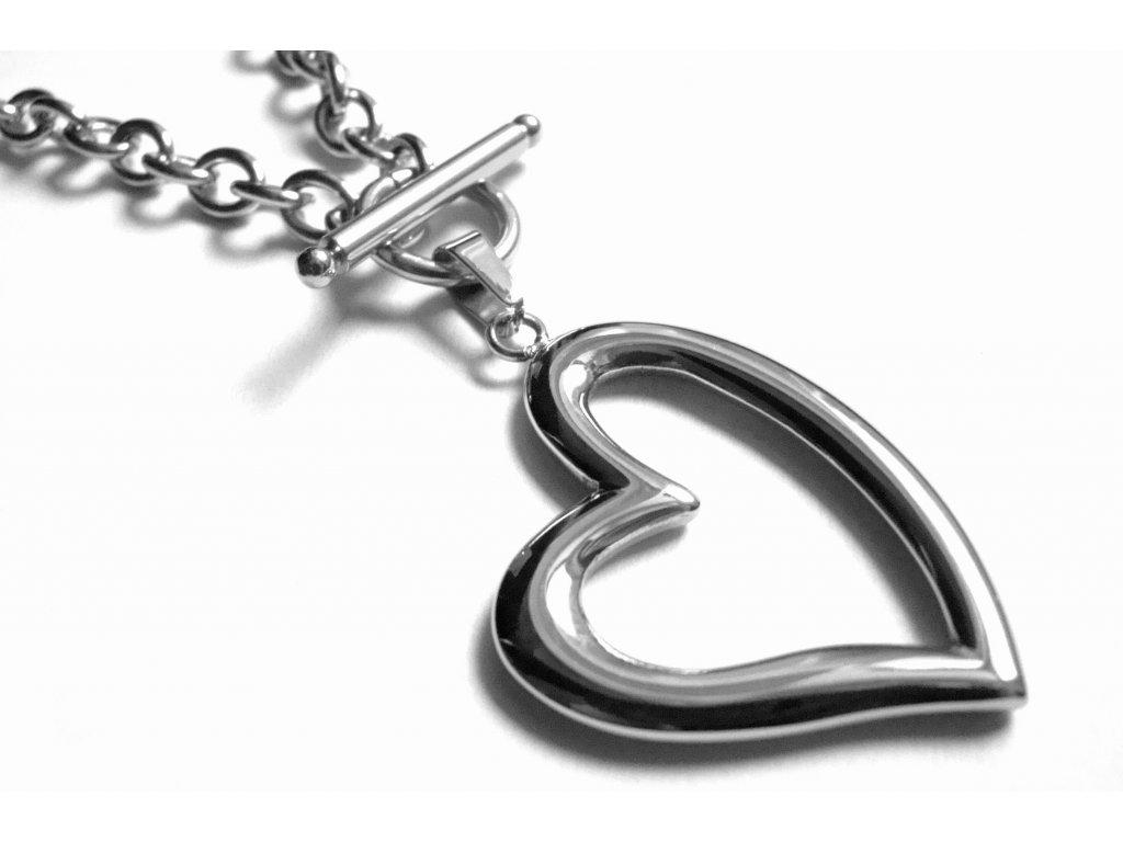 náhrdelník - chirurgická ocel - srdce - 090220