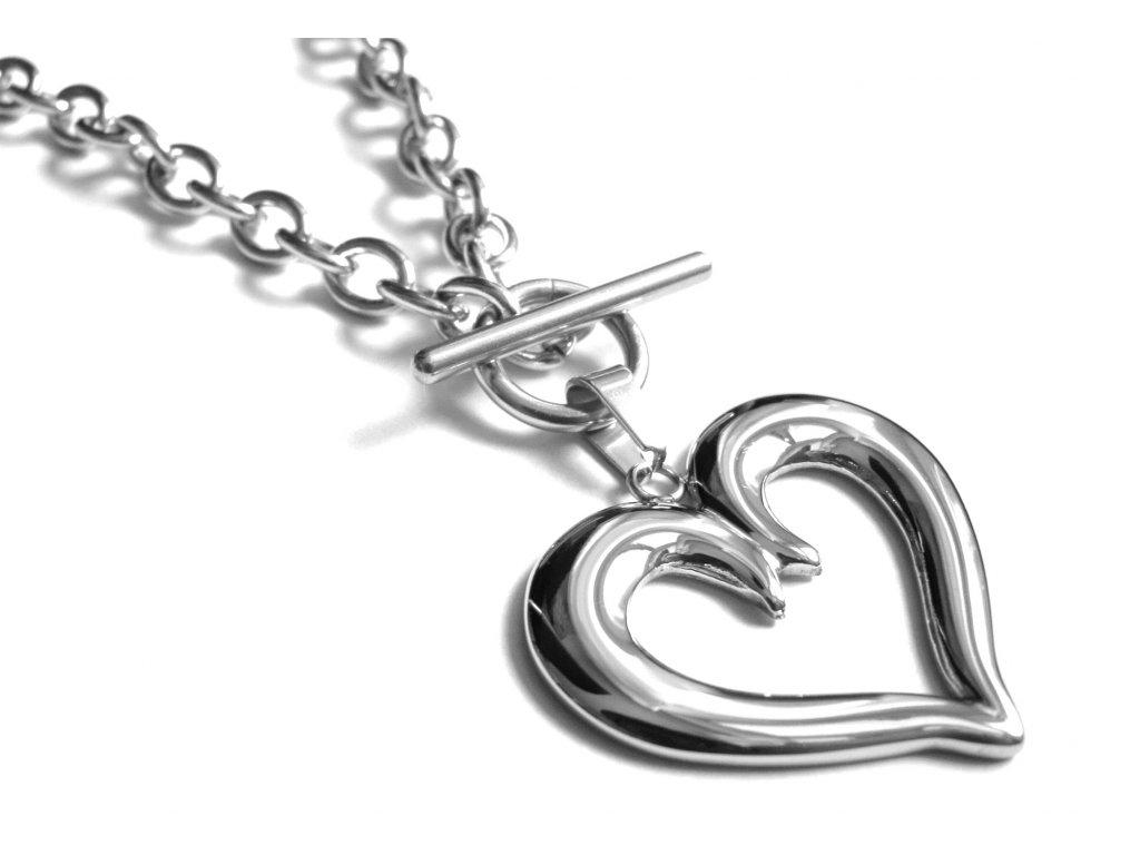náhrdelník - chirurgická ocel - srdce - 090298