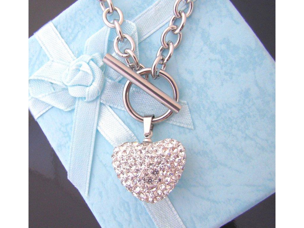 náhrdelník - chirurgická ocel - srdce s křišťálky - 090245