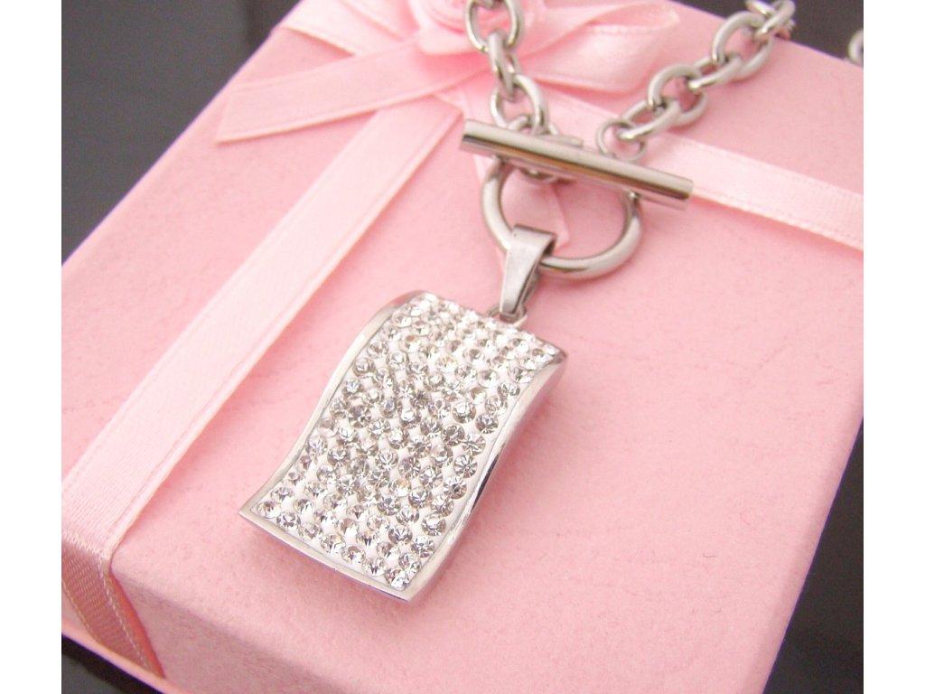 náhrdelník - chirurgická ocel s krystalky - dámský - 110213