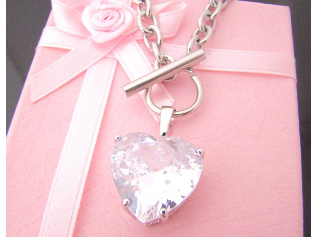 náhrdelník - chirurgická ocel - srdce - dámský - 090360