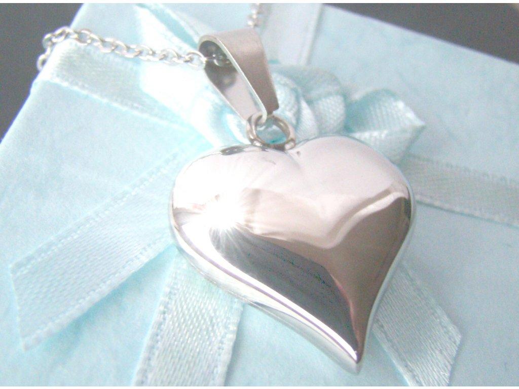 řetízek s přívěskem - srdce - chirurgická ocel - 090361