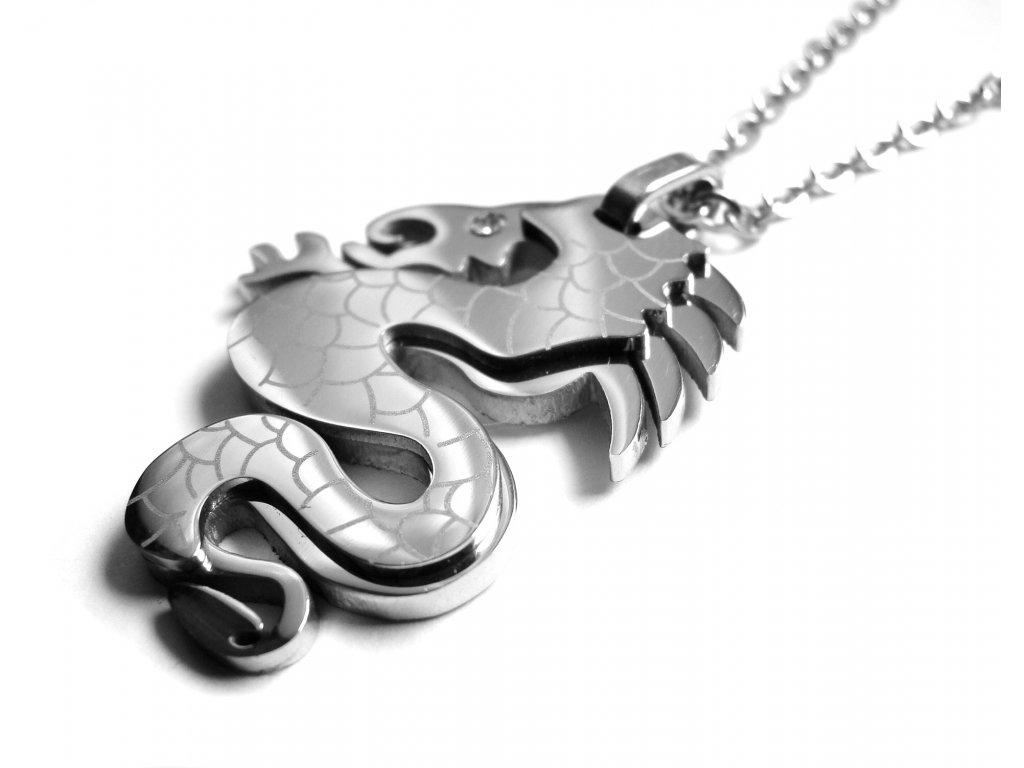 řetízek s přívěskem - chirurgická ocel - drak - 090458